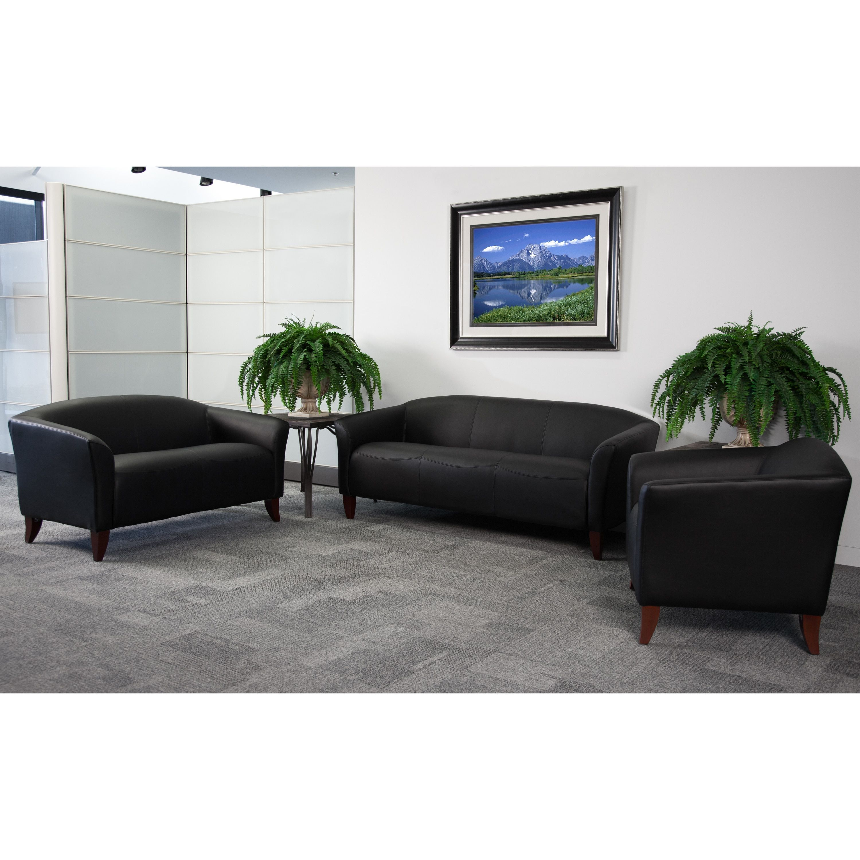 3 piece black leather living room set ceiling light in allison contemporary