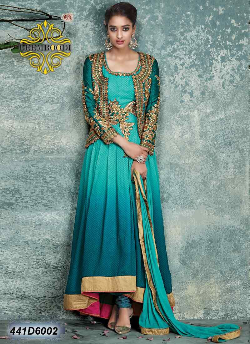 41a932d8c7d Creative Geen Coloured Georgette Jacquard Semi stitched Anarkali salwar suit