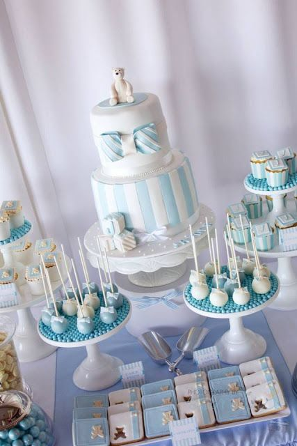 A combined christening and 1st birthday by 3 39 s a party candy buffet and party supplies 1st - Boy baptism favors ideas ...