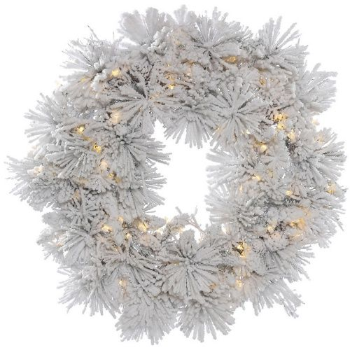 Vickerman 36 in. Flocked Alberta Pre-Lit Wreath with 100 Warm White Lights