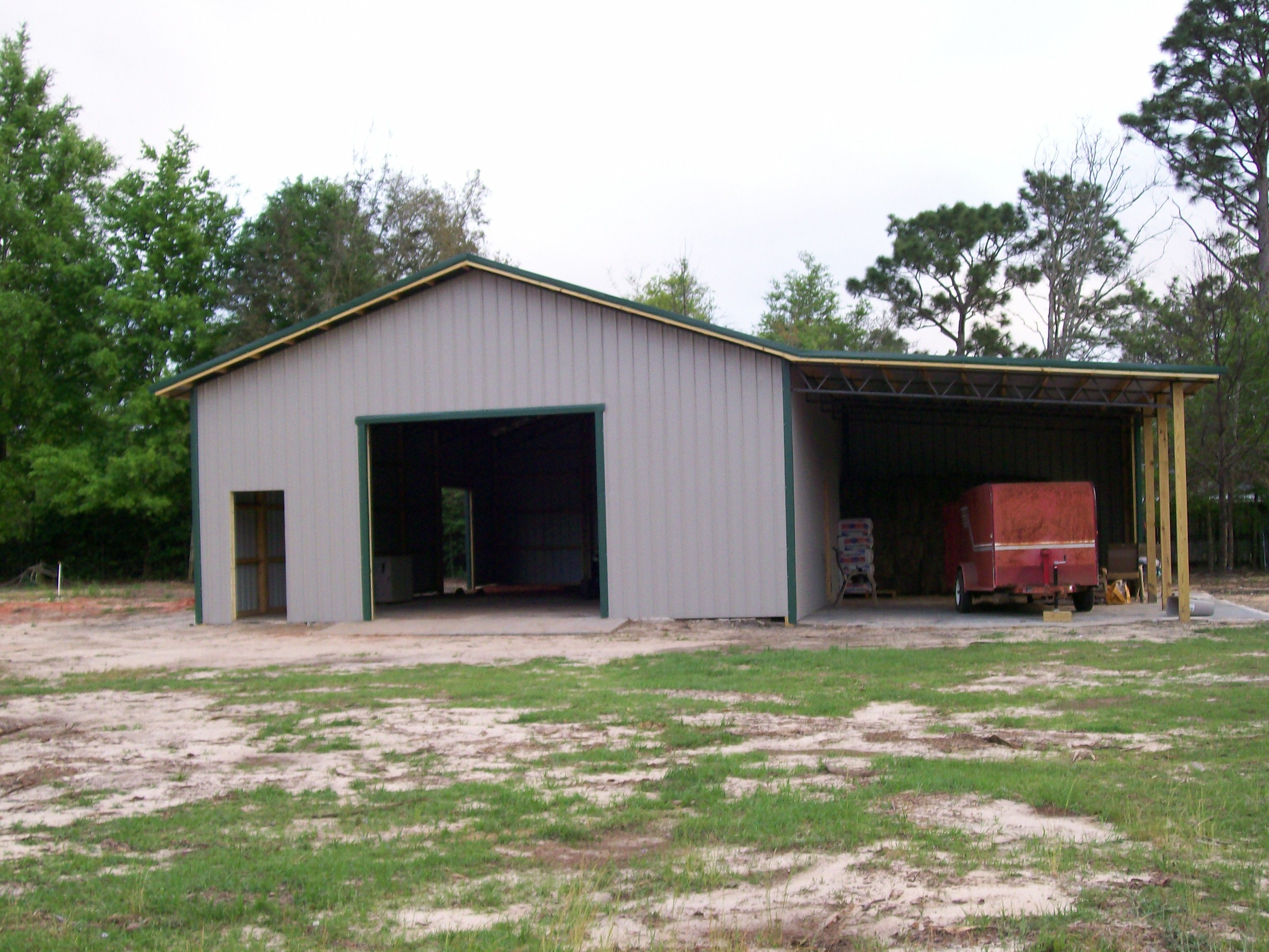 Large Drive In Doorway For Equipment Maintenance And Overhang For Storage Pole Barn Homes Barn Style House Barn House