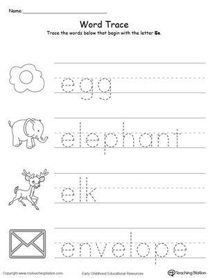 trace words that begin with letter sound e phonics box preschool worksheets alphabet. Black Bedroom Furniture Sets. Home Design Ideas
