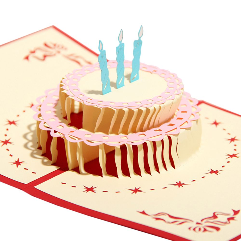 Pop Up 3D Birthday Cake Birthday Cards