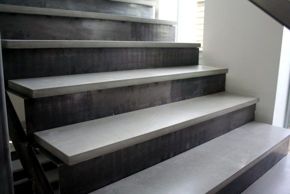 Concrete Tread On Steel Stair Stairs In 2019 Concrete