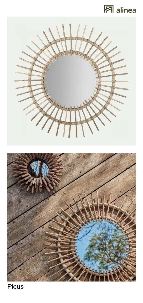 alinea ficus miroir rond en kubu d90cm deco decoration murale miroirs alinea