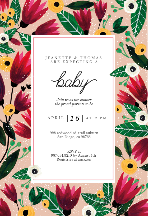 Spring Hug Baby Shower Invitation Template Free Greetings Island Cocktail Party Invitation Bridal Shower Invitations Templates Baby Shower Invitation Templates