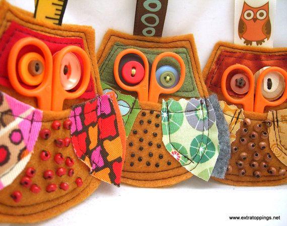 eXtratoppings on etsy- little mending kit owls, Sweet!