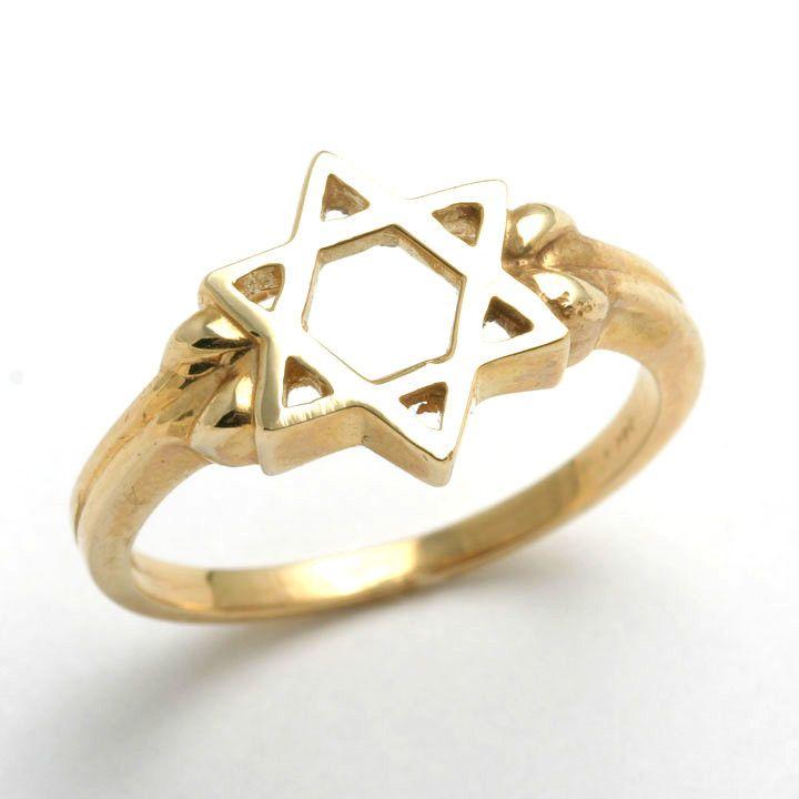 14k Yellow gold Jewish Star of David Ring Star Ring and Gold
