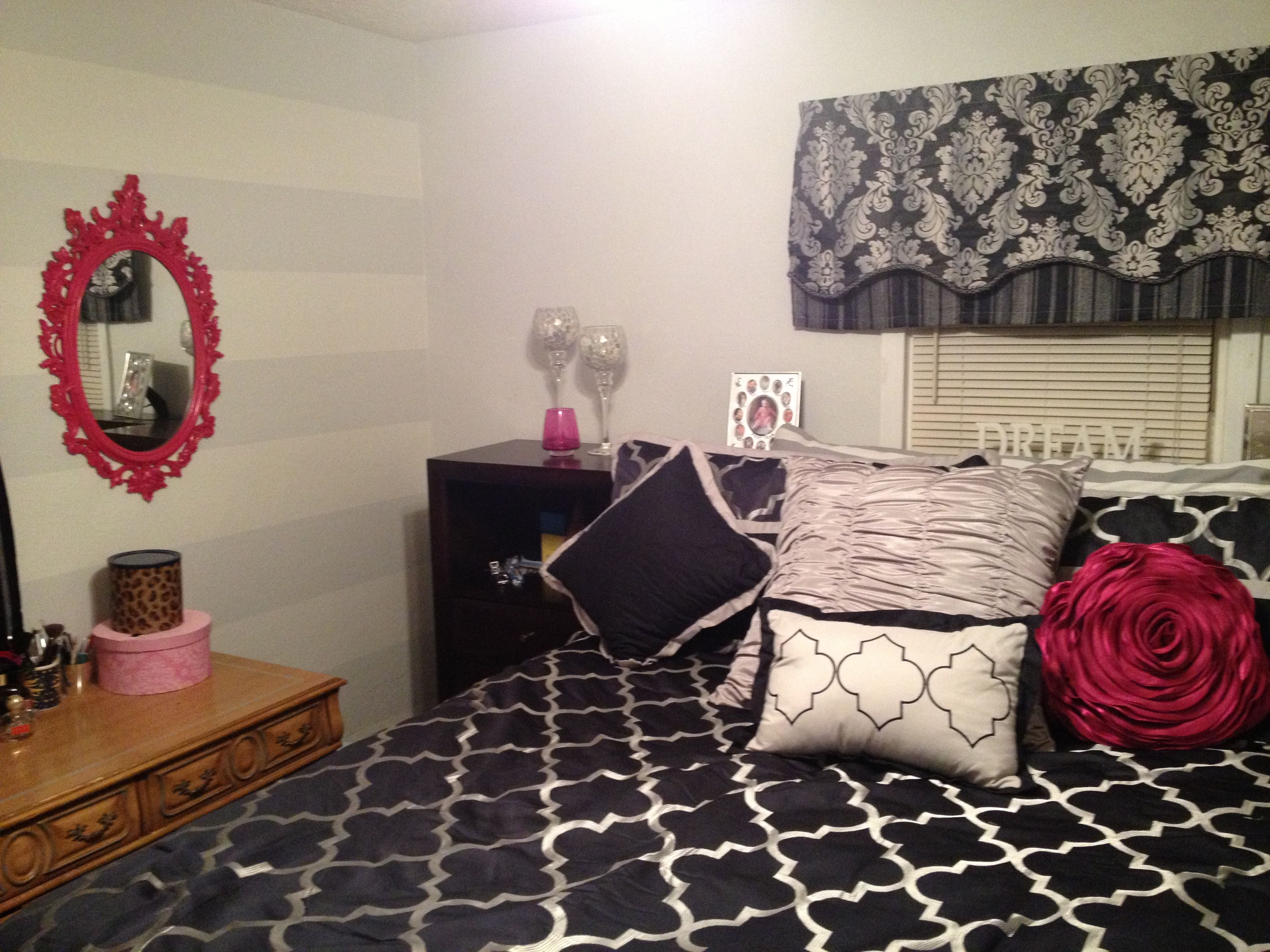 After my navy and hot pink bedroom w light grey walls and Light grey and navy bedroom