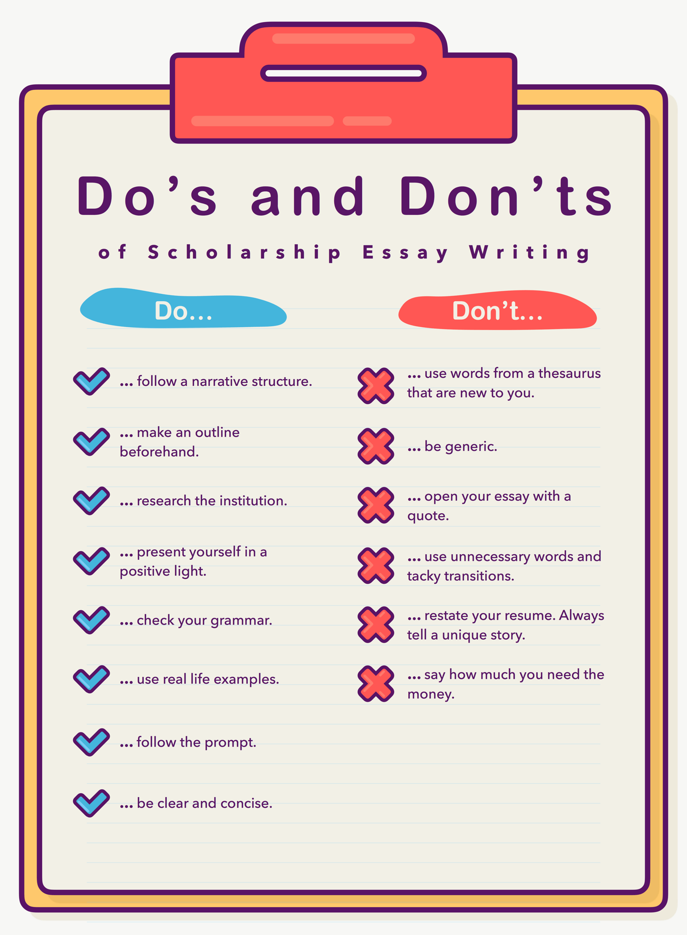 Dos And Donts Of Scholarship Essay Writing