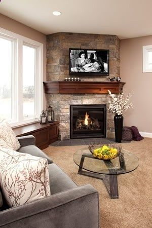 Marvelous Corner Fireplace With Warm Cherry Wood Mantel Love The Download Free Architecture Designs Xerocsunscenecom
