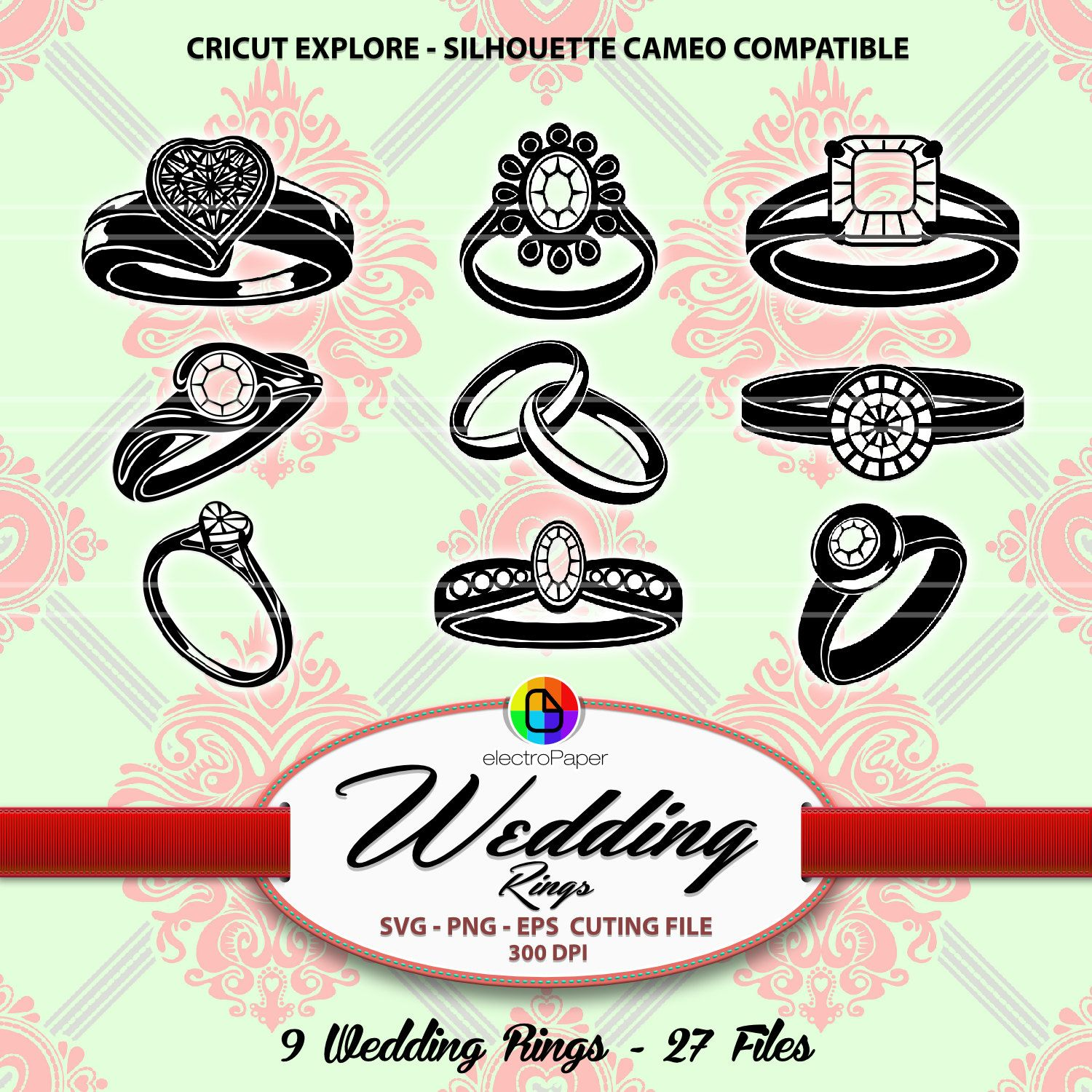 Wedding Rings - Clipart Die Cut files for Wedding invitation Cardmaking stationery bridal vinyl scrapbooking paper goods PNG SVG EPS de ElectroPaper en Etsy