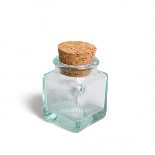 Vierkant potje met kurk, mini, groen gerecycled glas, 45 ml Kruidenpotjes! VEEEEEL. Voor 2 rekjes in totaal!