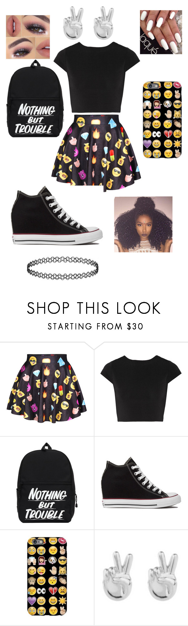 """Emoji Supporter:Bad Girl"" by adavies1115 on Polyvore featuring Alice + Olivia, Converse and Rock 'N Rose"