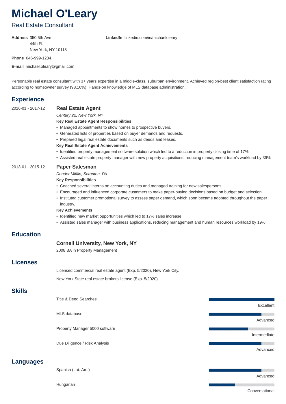 real estate resume template minimo in 2020