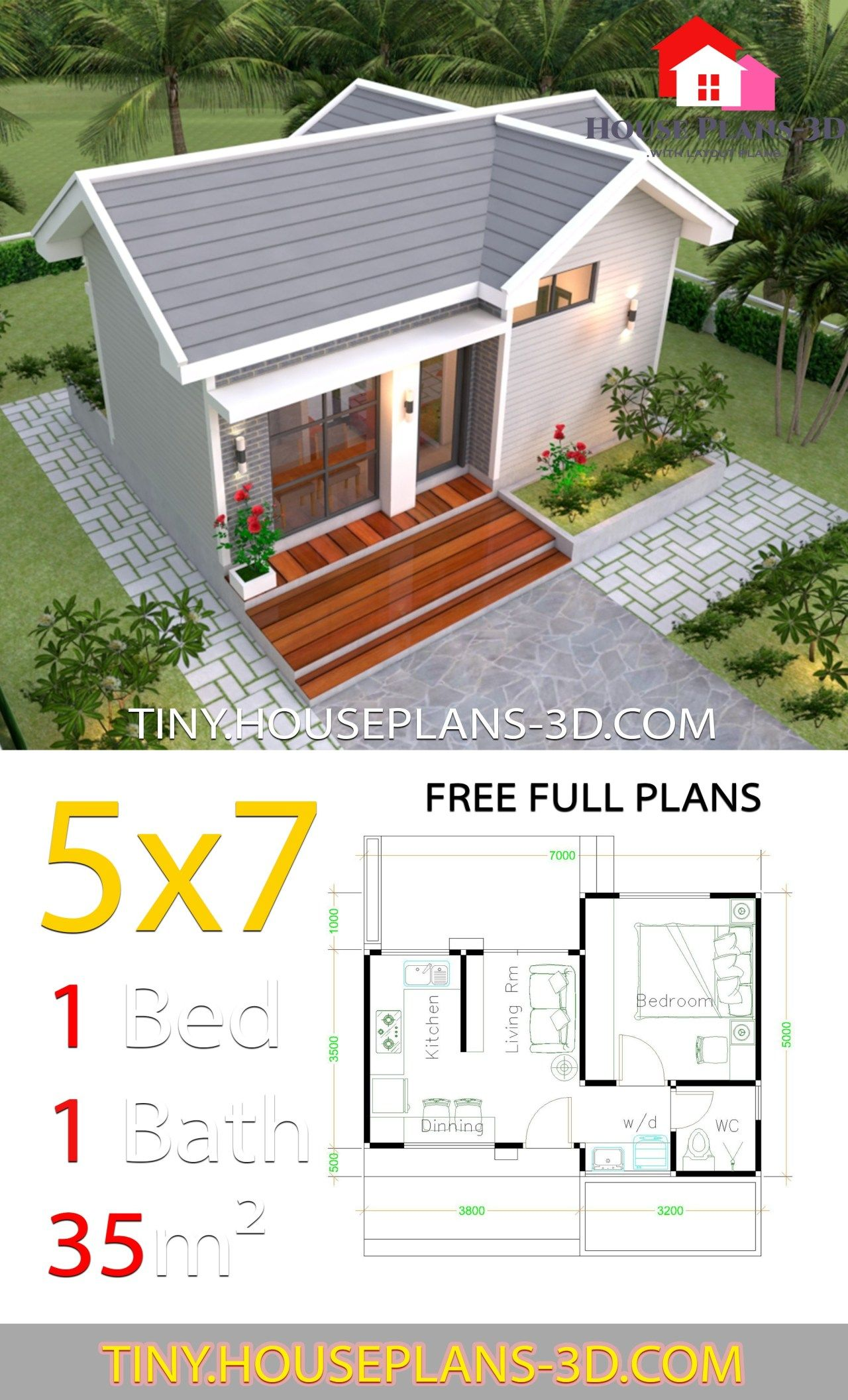 Small House Design Plans 5x7 with One Bedroom Gable Roof ...