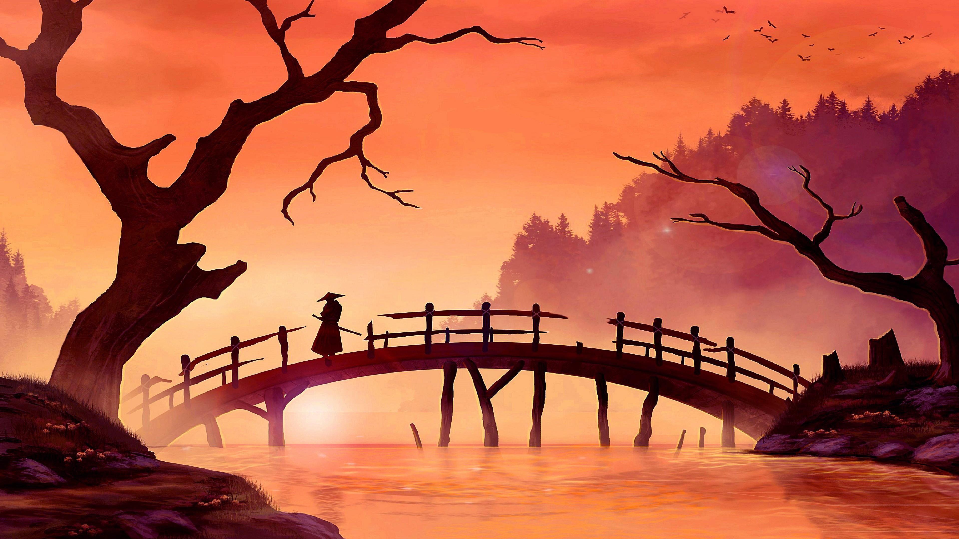 Samurai Bridge Painting Art Sunset River Landscape Branch Tree Japan Art Art Artwork 4k Wallpaper Hdw Forest Painting Nature Art Japanese Landscape