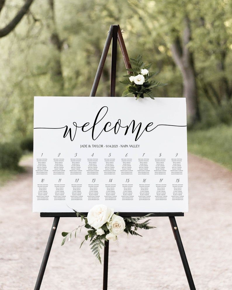 edit Templett 3 size Wedding Seating Chart Template Calligraphy welcome wedding Seating Chart Poster elegant Seating Chart Seating Plan