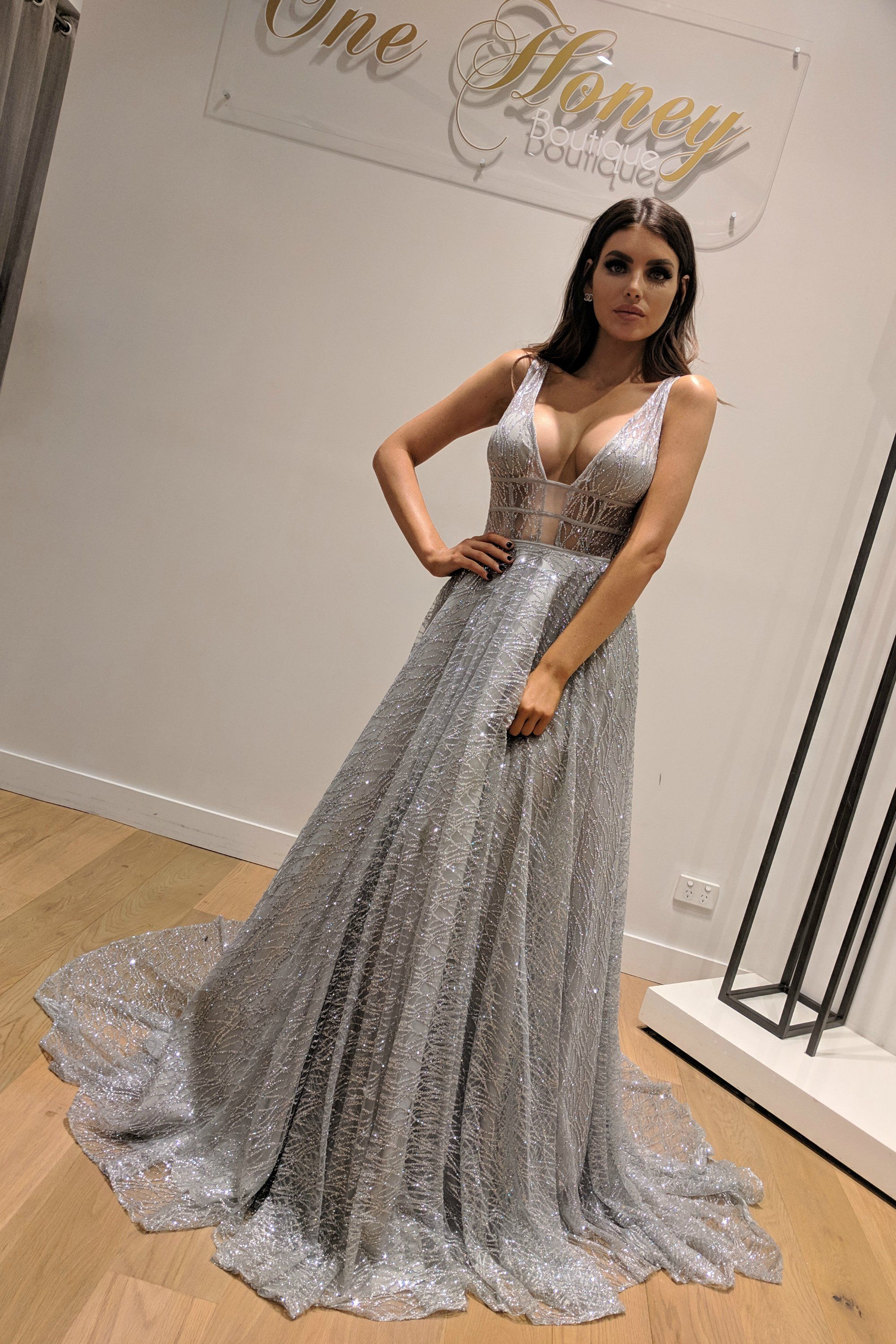 aa0d878e325e Honey Couture DAZZLING Silver Sequin Princess Formal Gown Dress ...