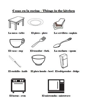 Spanish Kitchen Utensils Vocab Amp Activities Vocab