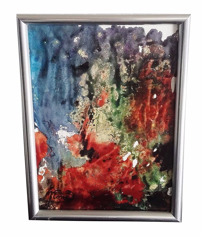 tableau abstrait peinture vitrail encadr et sous verre paysage imaginaire peintures. Black Bedroom Furniture Sets. Home Design Ideas