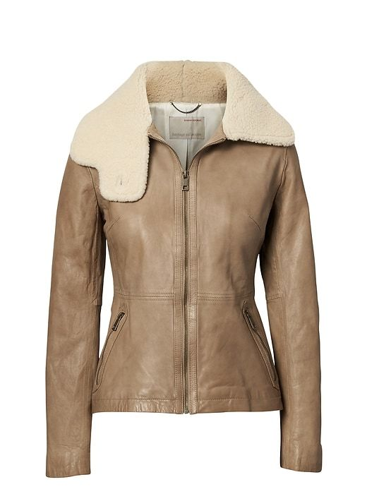 3fa255e87 Banana Republic Womens Heritage Shearling Funnel-Neck Leather Jacket ...