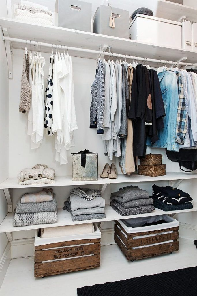 Walk in closet with wood crates 39
