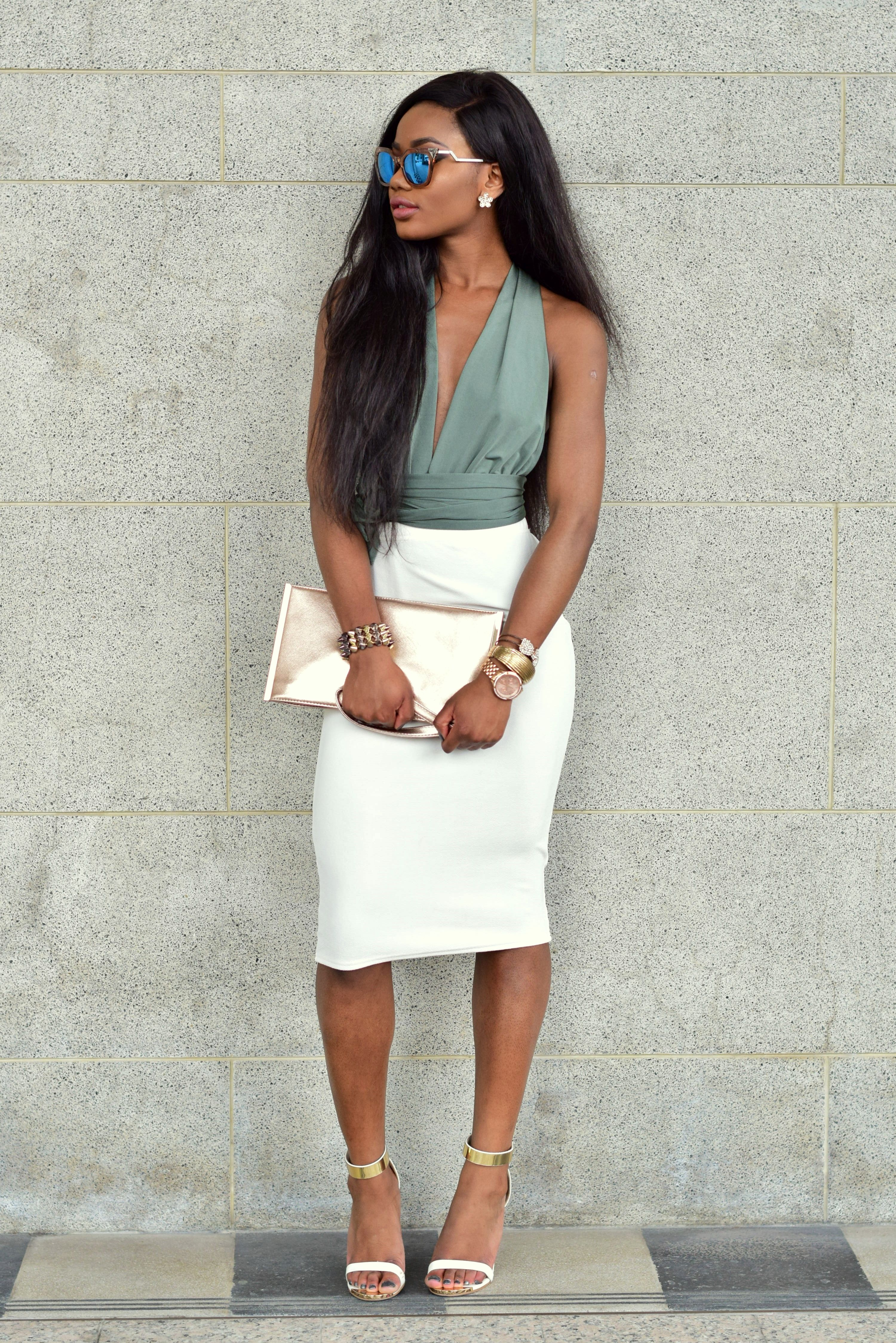 e285bf9a0 Chapter I - Classy Outfit - Bodysuit and midi white pencil skirt. Billykiss  Azeez. Your Favourite Muse