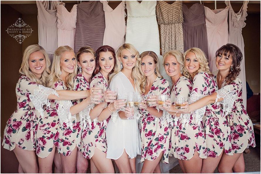 cute bridesmaids photos silk robes stone fox bride floral get