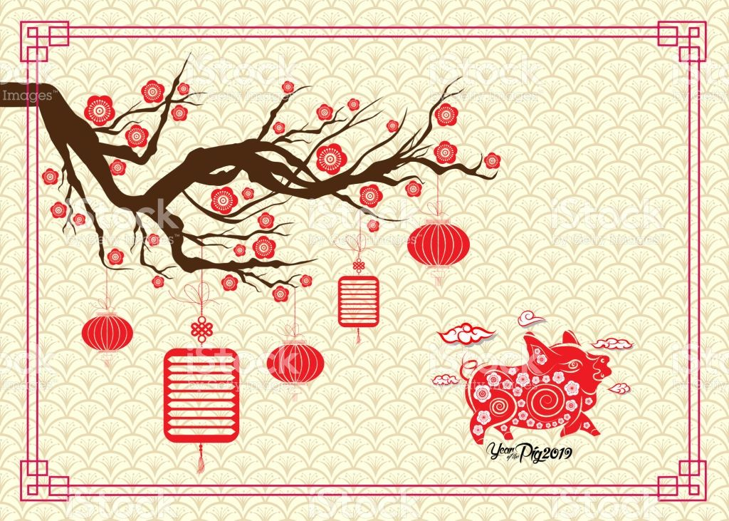 happy chinese new year 2019 zodiac sign with cherry blossom background year of the pig