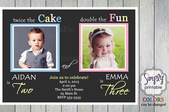 Joint Party Girl Boy Birthday Invite Pink Blue Yellow Birthday