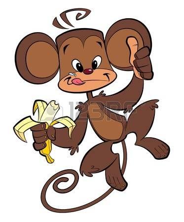 Un mono marr n feliz comiendo banana historieta con el pulgar