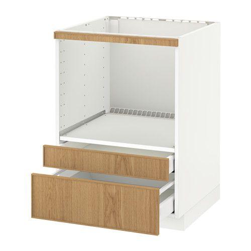 Metod Base Cabinet F Combi Micro Drawers White Ekestad Oak Ikea
