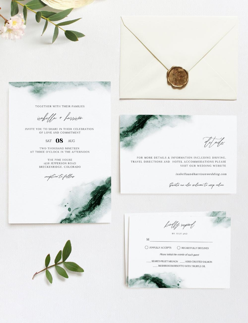 Emerald Green Watercolor Wedding Invitation Template Suite Etsy Emerald Wedding Invitations Jewel Tone Wedding Invitations Watercolor Wedding Invitations