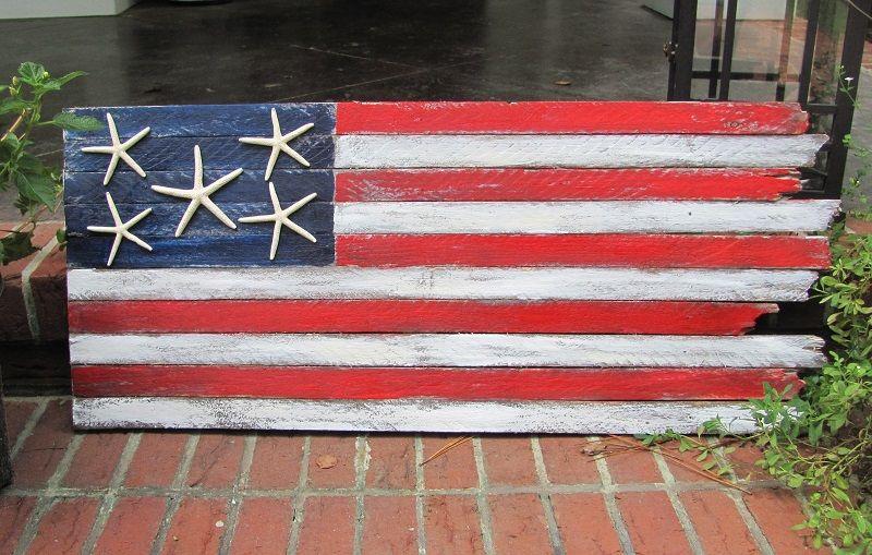 Handcrafted coastal flag americana beach decor coastal