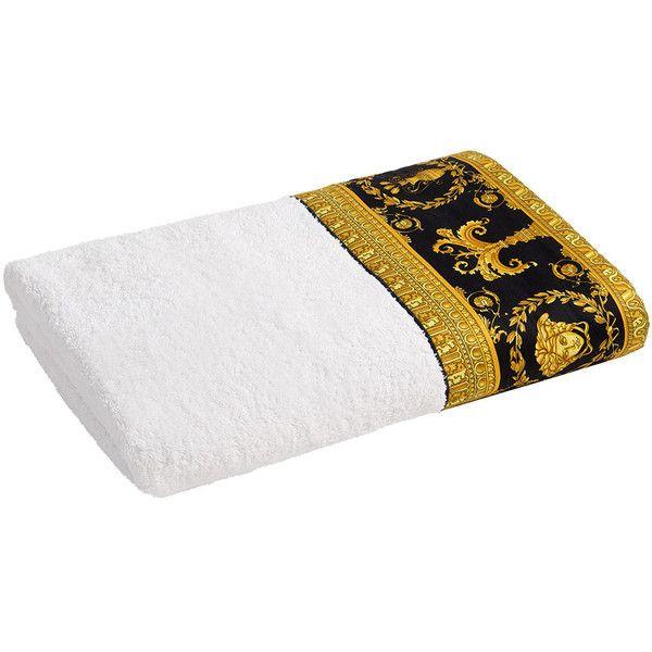 Versace Barocco Robe Towel White Gold Black Bath Towel 185