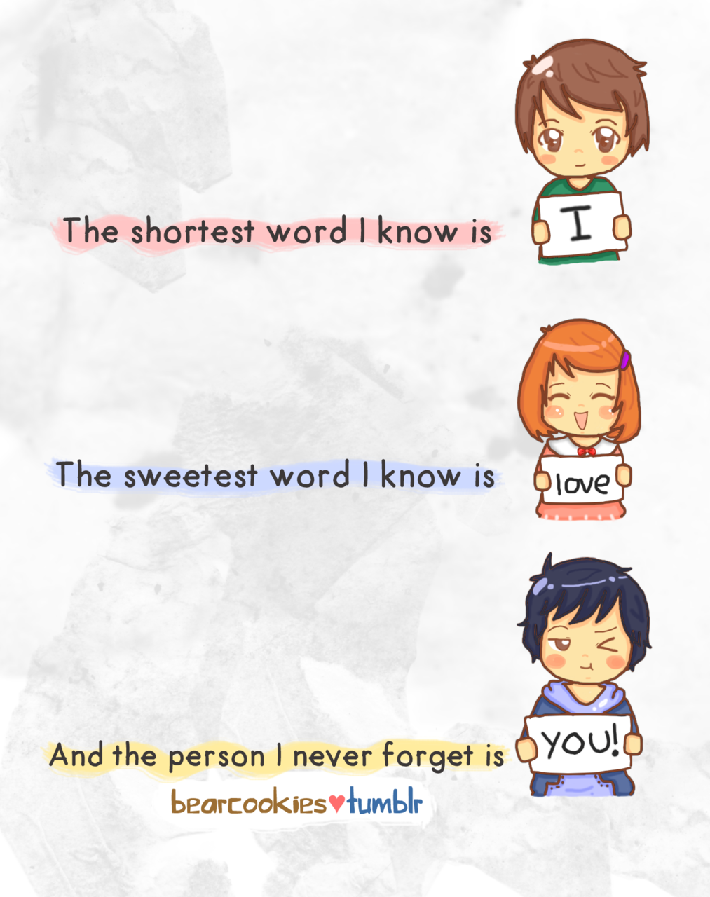 The shortest word I know is I The sweetest word I know is LOVE Life QuotesTumblr