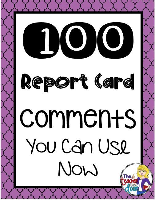 A practical post filled with 100 report card comments for ...