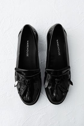 Flats | Black TASSEL AND FRINGE FRONT LOAFER