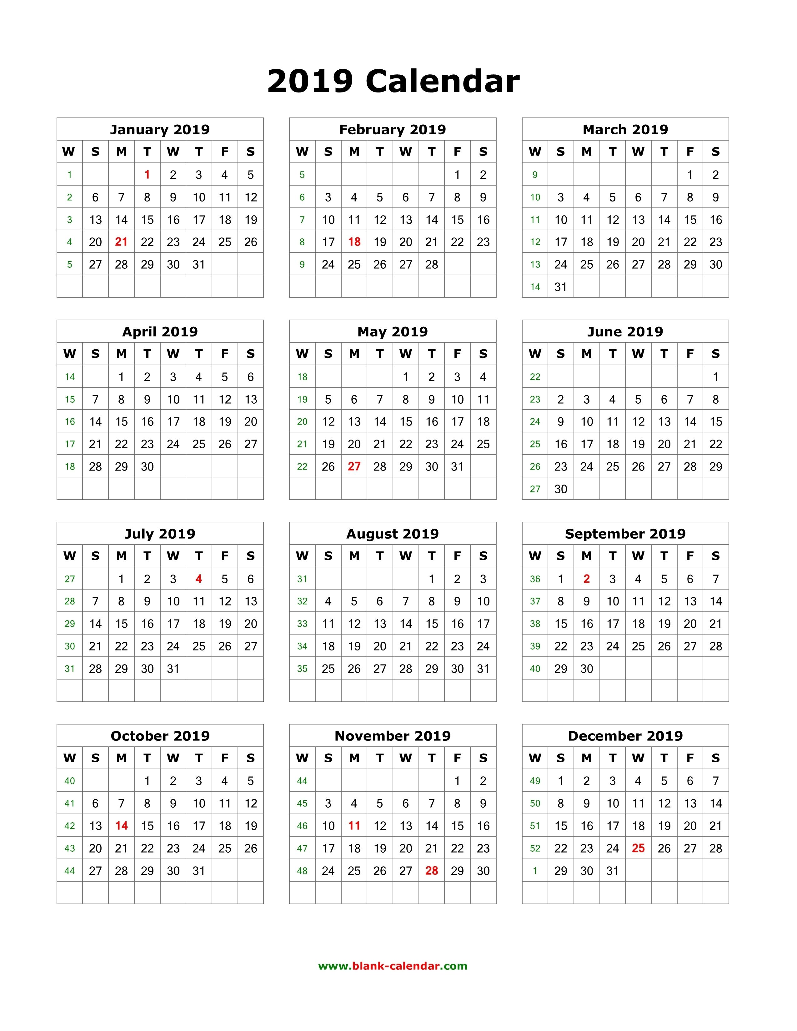 Download Blank Calendar 2019 12 Months On One Page Vertical Get Printable Yearly Calendar Yearly Calendar Template 12 Month Calendar Printable