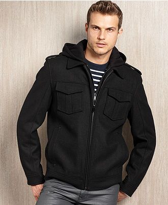 Guess Coat, Wool-Blend Hooded Hipster - Coats & Jackets - Men - Macy's