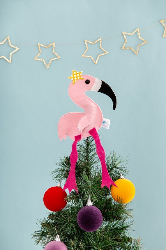 Flamingo, Christmas tree topper, pink decor, bird ...