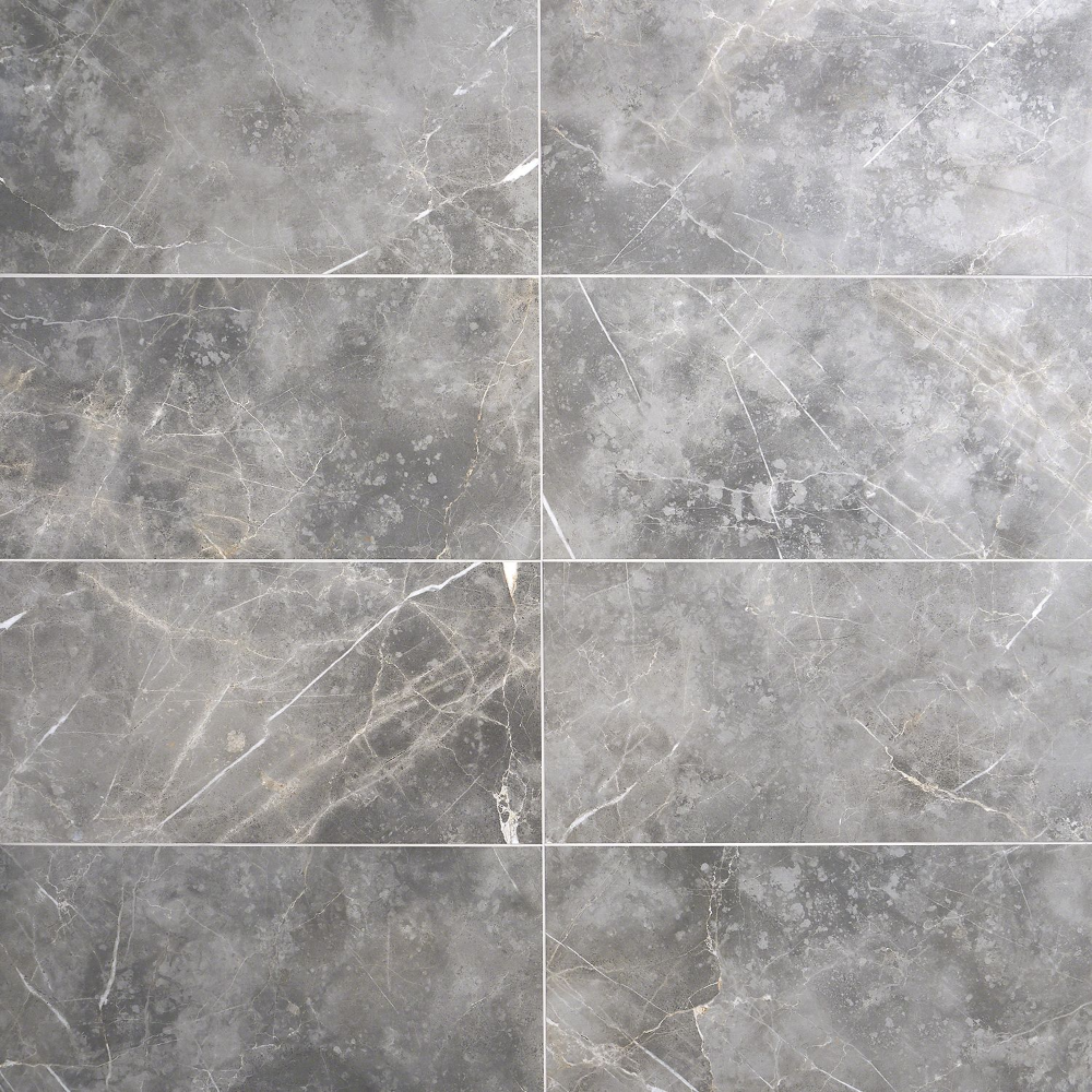 Marble Tech Grigio Imperiale 12x24 Polished Porcelain Tile In 2020 Polished Porcelain Tiles Porcelain Tile Porcelain Tile Bathroom