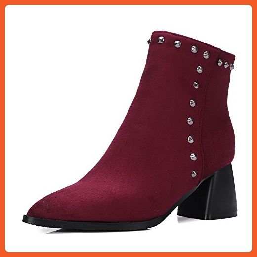 Amoonyfashion Women S Kitten Heels Frosted Low Top Solid Zipper Boots Claret 42 Boots For Women Amazon Partner Link Boots For Women Boots Block Hee