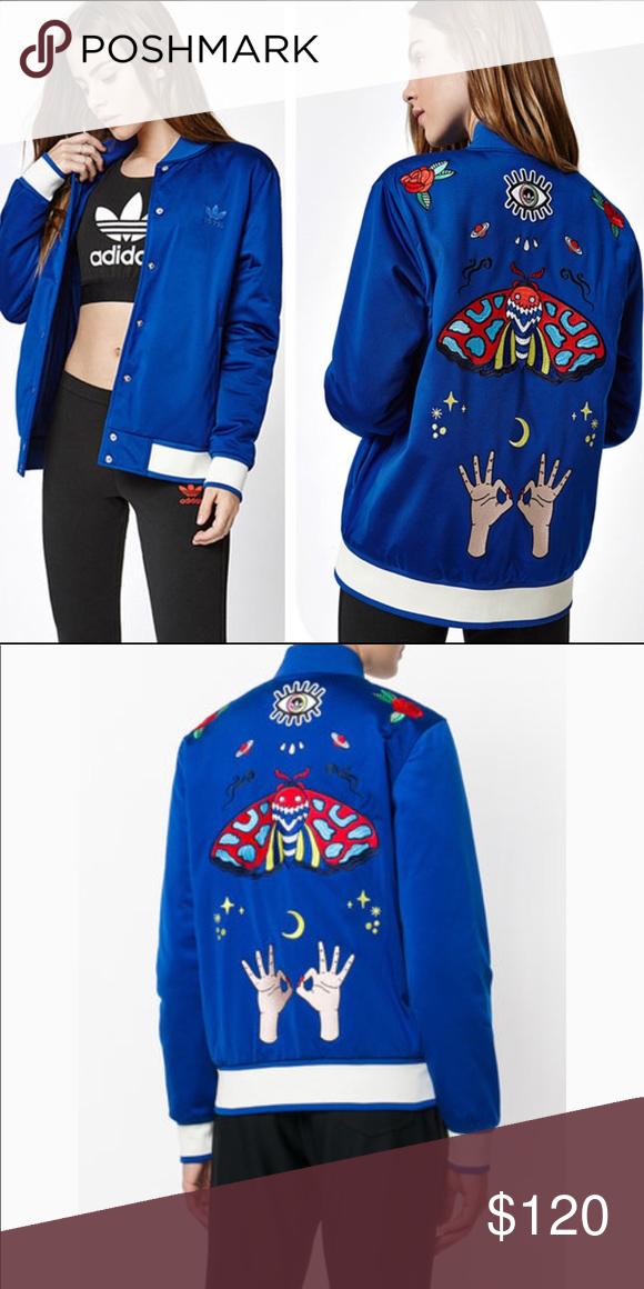 b5248c0b59 Adidas Embellished Arts Silk Blue Bomber Jacket NWOT Adidas originals Rita  Ora Pharrell RARE limited edition