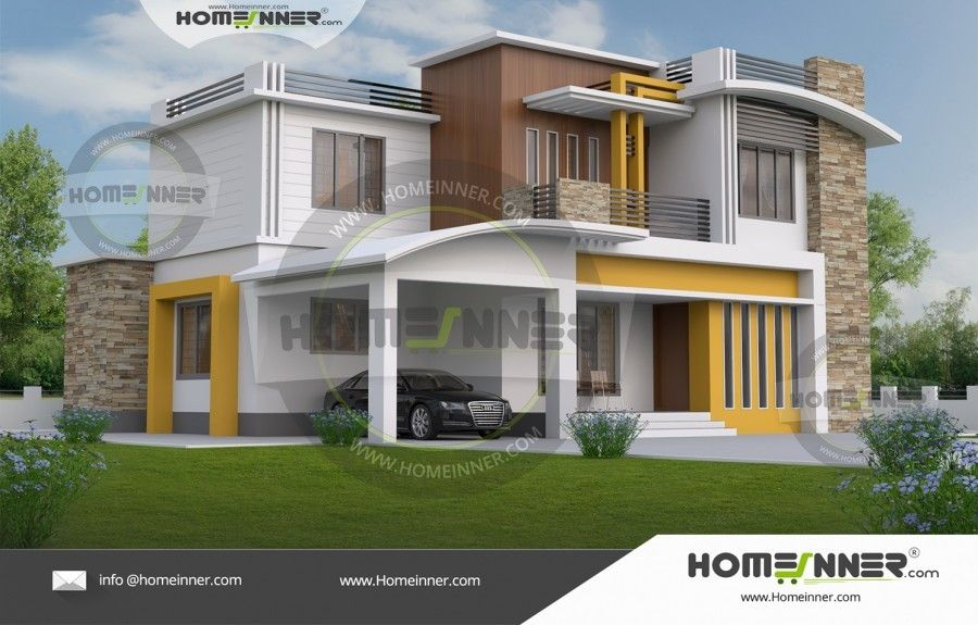 2700 Sq ft 5BHK Two Story Contemporary Home Plan Elevation