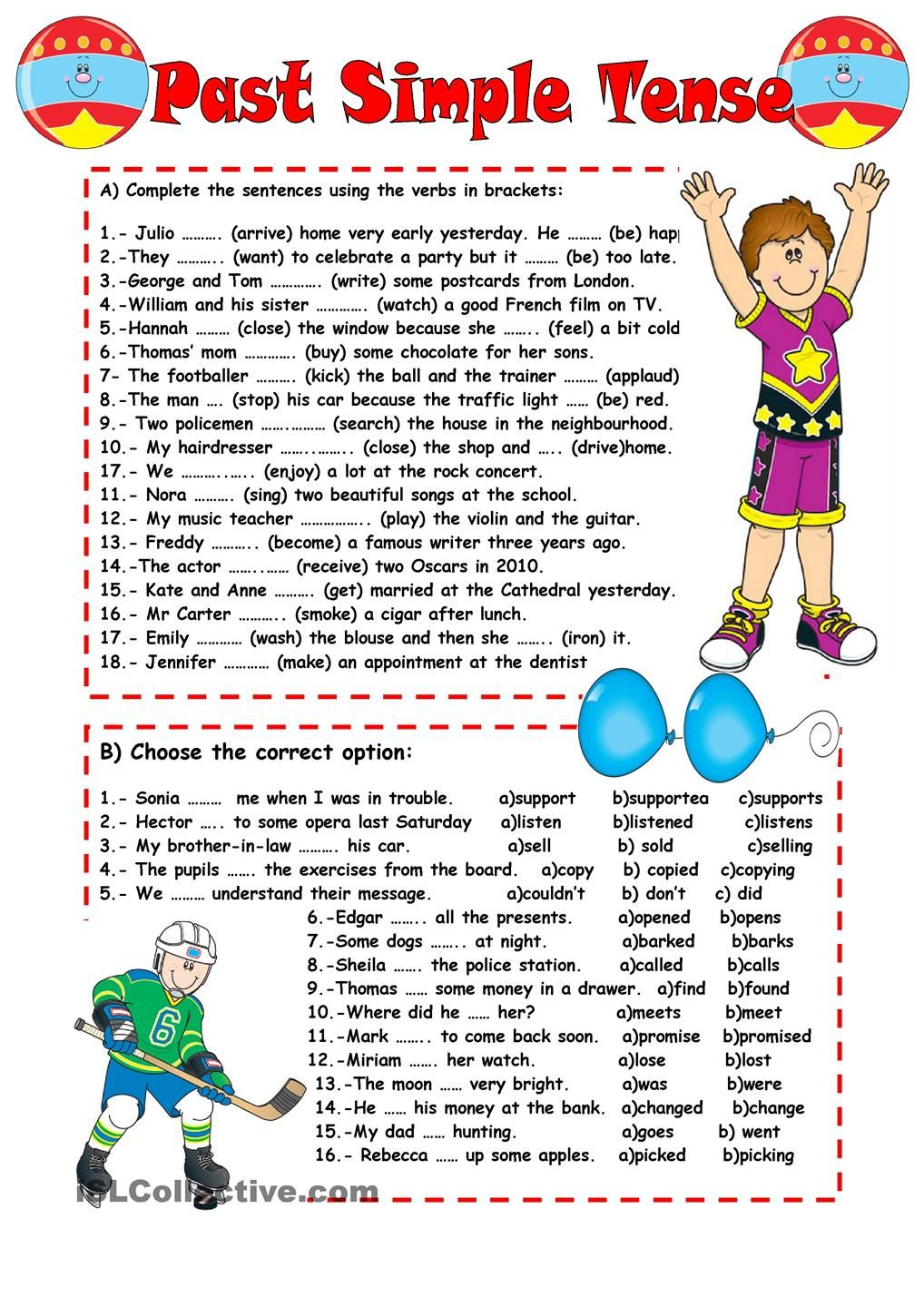 PAST SIMPLE TENSE English grammar worksheets, English