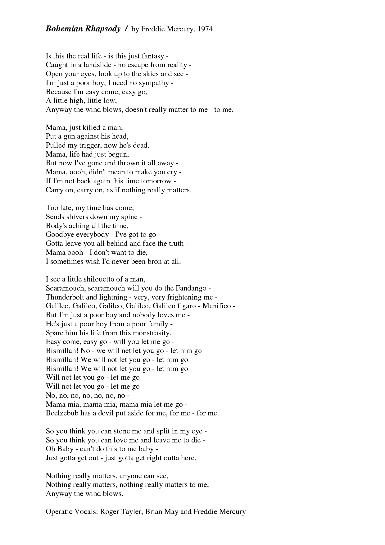 Lyrics: Queen For Those Of You That Don't Know