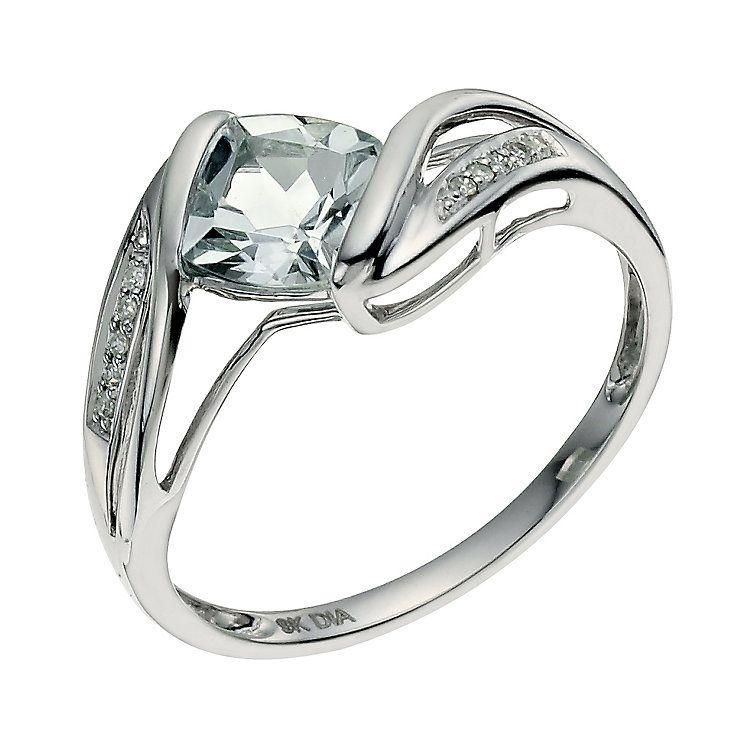 55b3e5d7e1c16 9ct white gold diamond & aquamarine ring - Product number 9615156 ...