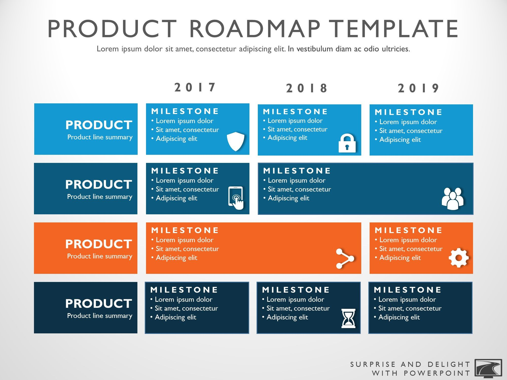 Three phase business planning timeline roadmapping for Strategic management report template